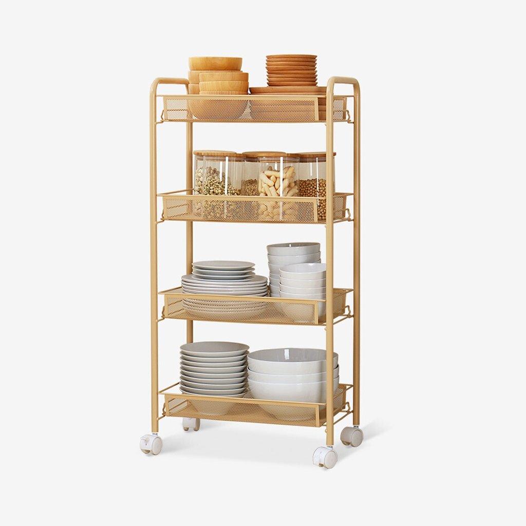 WAN SAN QIAN- Home Economy Kitchen Removable Shelf Bathroom Metal Rectangle Storage Shelf Wheel Diamond Basket Storage Car Light Yellow Shelf ( Size : 4 layers )
