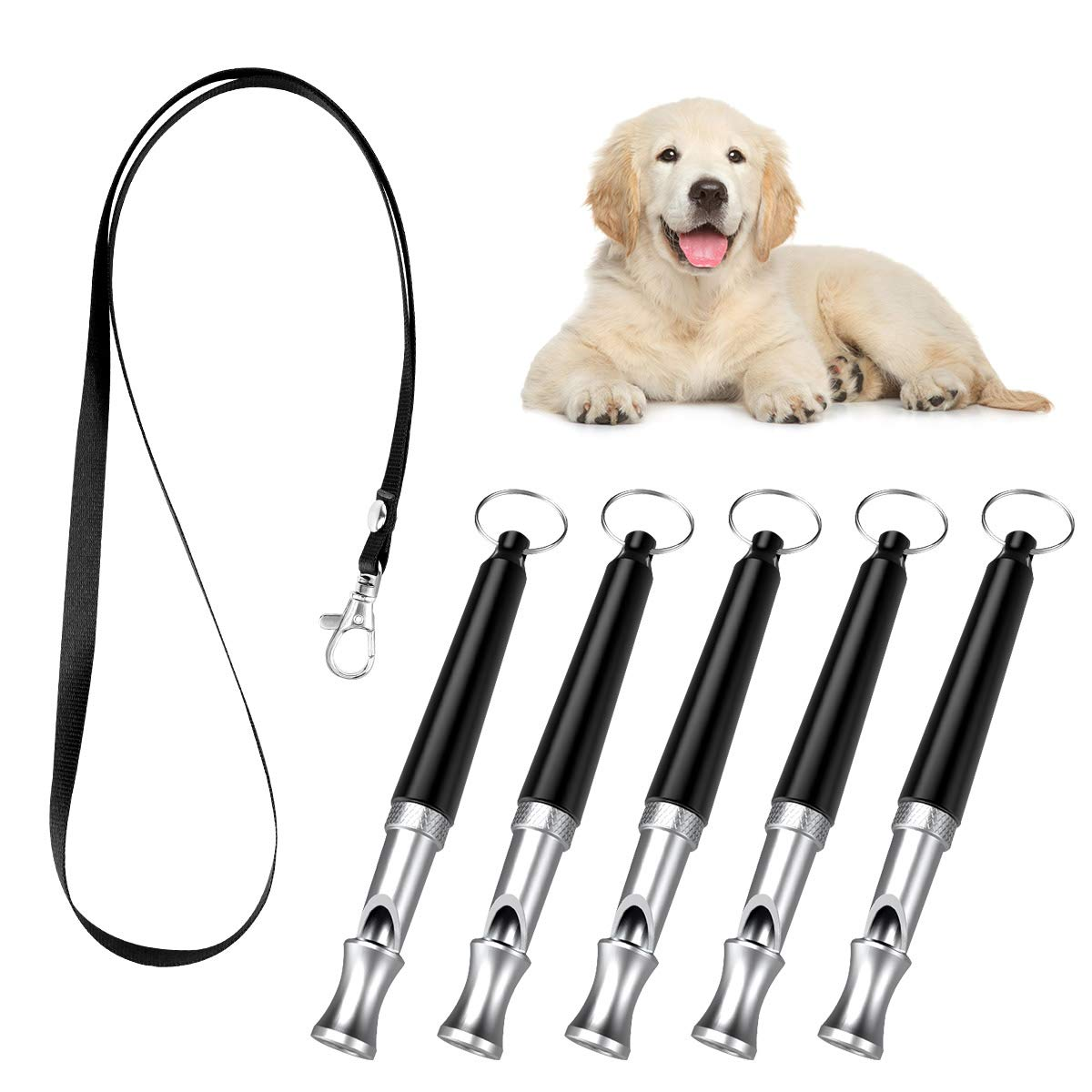 PAWABOO Dog Training Whistle 5 Pack, Professional Ultrasonic High Pitch Adjustable Volume Dog Train Whistle to Stop Barking, Silent Dog Bark Control Tool for Training Pets with Lanyard Strap, Black by PAWABOO