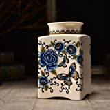 Funeral Urn by Meilinxu -Cremation Urns for Human Ashes Adult - Hand Made in Ceramics and Hand-Painted- Display Burial Urns At Home or in Niche at Columbarium (Butterfly and Rose, Blue And White Large