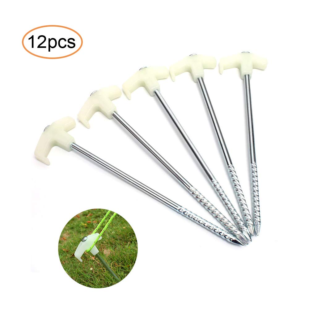 GLOBALDREAM 12 Pieces Metal Tent Pegs Camping Stakes with Plastic stoppers Glow in The Dark Stopper Tent Stakes Heavy Duty Garden Stakes