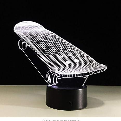 détails pour Style magnifique grandes marques Cool Bulb garçon Planche À Roulettes 3D LED Veilleuses ...