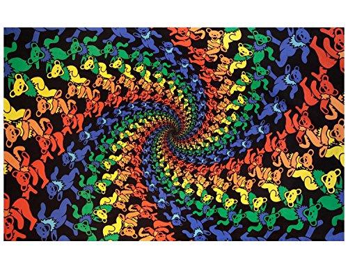 Sunshine Joy Grateful Dead 3D Dancing Bears Spiral Tapestry Tablecloth Wall Art Beach Sheet Huge 60x90 Inches - Amazing 3D Effects -