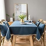 Pahajim Mantel de lino de algodón vintage Mantel rectangular a prueba de polvo Mantel bordado con borlas para la cocina (azul