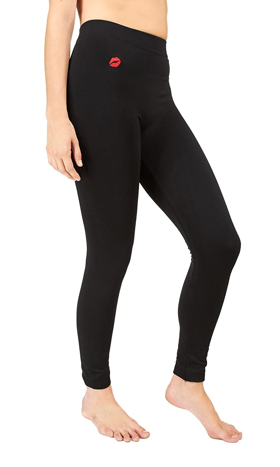 60056a3cd10b0d Amazon.com: Marilyn Monroe Womens Ladies Fleece Lined Footless Black  Leggings Lip Embroidery Size S/M: Shoes