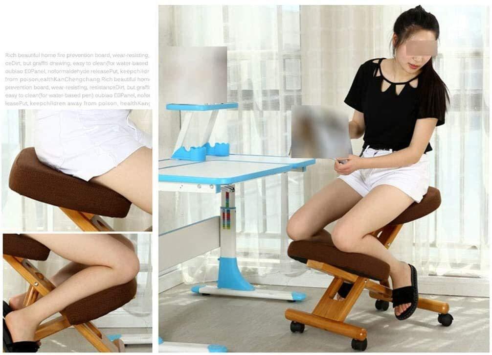 xingchen kontorsstol, justerbar ergonomisk knästol mobil vadderad sits och knä, pall för ryggavlastning med rullande underlägg (färg: C) c