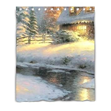 Thomas Kinkade Deer Creek Cottage S Shower Curtain Polyester Fabric With Hooks 66x72inch