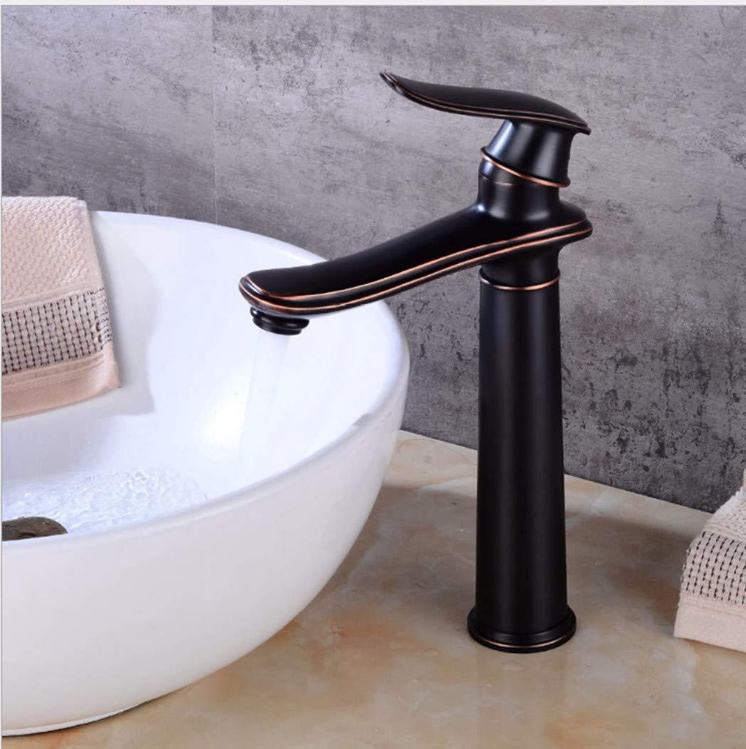 GiiWii Badezimmer Schwarz Hahn Retro Kupfer Metall Für Waschbecken Kaltes Und Warmes Wasser Mischen