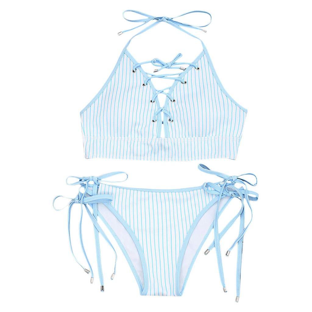 7cccee770ac Amazon.com: Women Two Piece Bikini Set Striped Print Hang Neck Bikini Sets  Swimsuits Swimwear Beach Suit: Clothing