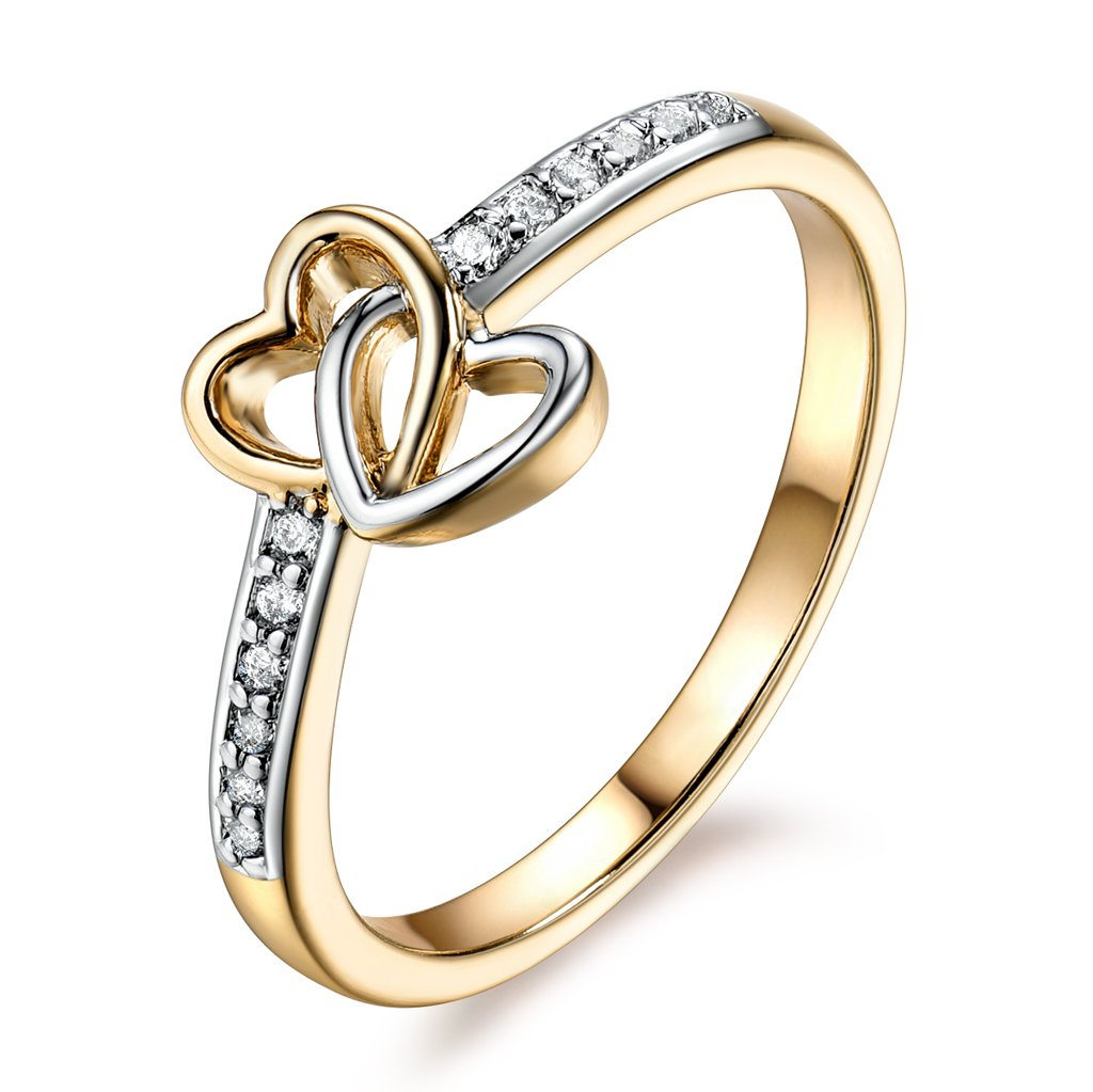 GULICX Bridal White Cubic Zirconia Band Two Tone Gold Tone Double Heart Love Rings for Anniversary Promise Wedding