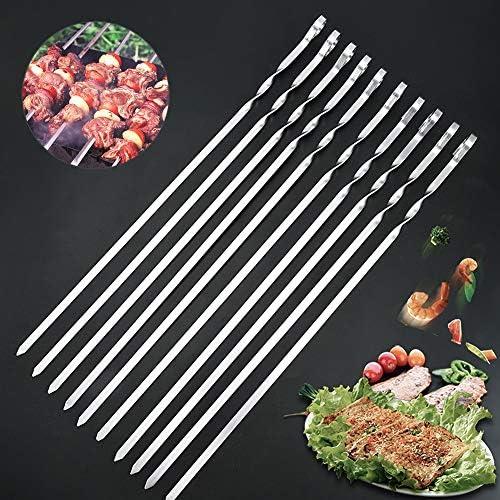 Lot de 10 brochettes en acier inoxydable pour barbecue - Réutilisables - Plates - 43 cm