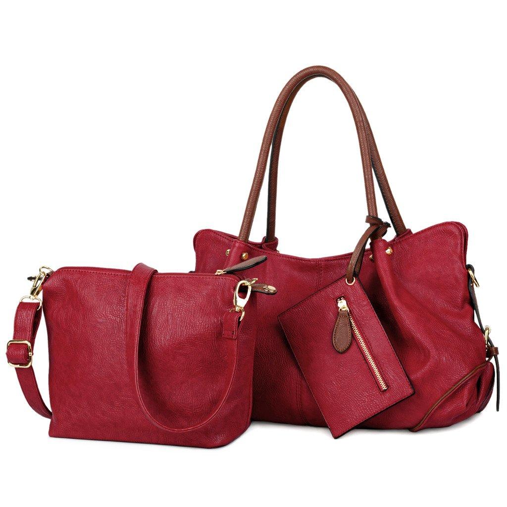 UTO Women Handbag Set 3 Pieces Bag PU Leather Tote Small Shoulder Purse Bags  Wallet Strap 53b48e08d2a86