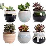 Hemoton 6pcs Ceramic Flower Pots Succulent Planter Indoor Round Planter Pots with Hole Bonsai Container for Home Office…