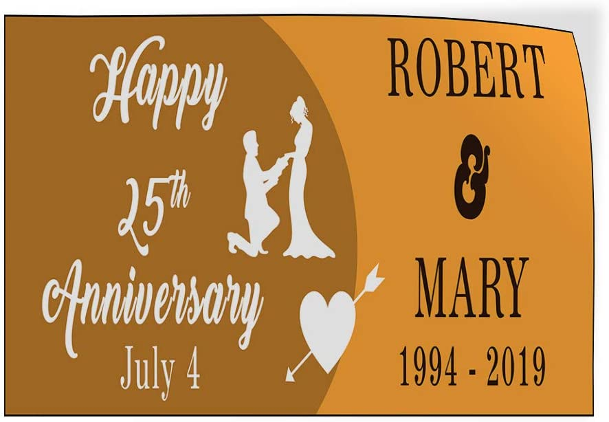 Custom Door Decals Vinyl Stickers Multiple Sizes Happy Anniversary Congrats Name Years B Lifestyle Happy Anniversary Outdoor Luggage /& Bumper Stickers for Cars Brown 36X24Inches Set of 5