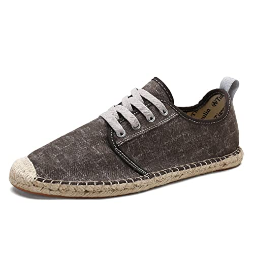 Zapatos con Cordones Lona Marrón Alpargatas para Hombre Lino Espadrilles: Amazon.es: Zapatos y complementos