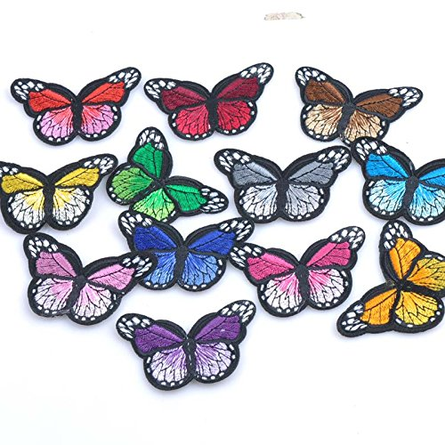 Motif Cast Iron - Iron - Butterfly Patch Badge Fabric Jeam Iron Decoration Repair Decal Sewing Motif Mixed Color 7x4 Cp0919 - Maculation Smoothing Dapple Speckle Piece Cast-Iron Plot Ground - 1PCs