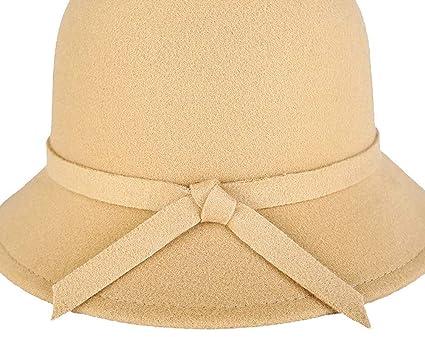 cfe700e3dd6db Saoye Fashion Sombreros Sombrero De Campana para Mujer Elegante Melón  Sombrero Redondo Fácil De Igualar con Bowtie Sombrero De Fieltro De  Invierno Clásico ...