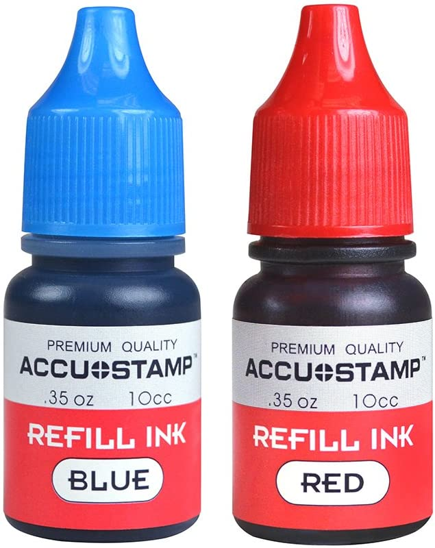ACCU-STAMP Ink Refill for Pre-Ink Stamps, Blue and Red, Pack of 2, .35oz/each (032958)