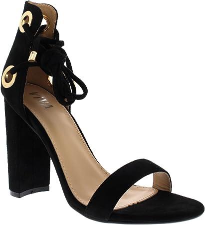 Mujer Bloquear Tacón Alto Ante Atar de Encaje Ante Sandalias Zapatos