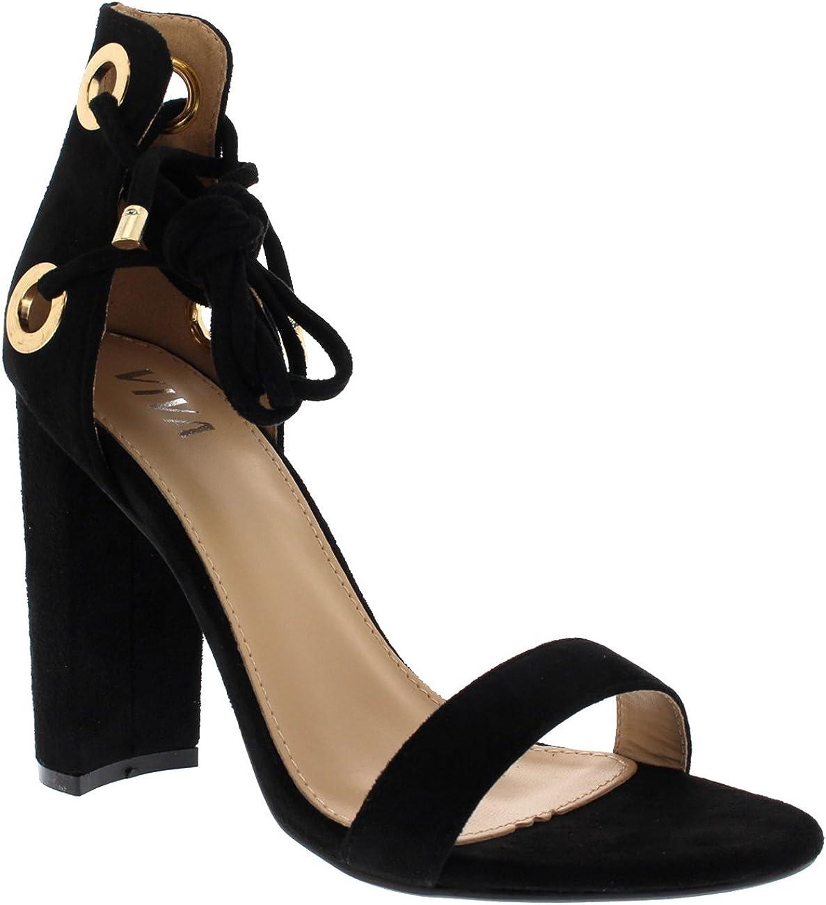 VIVA Womens Block High Heel Suede Lace Tie Up Suede Sandals Shoes