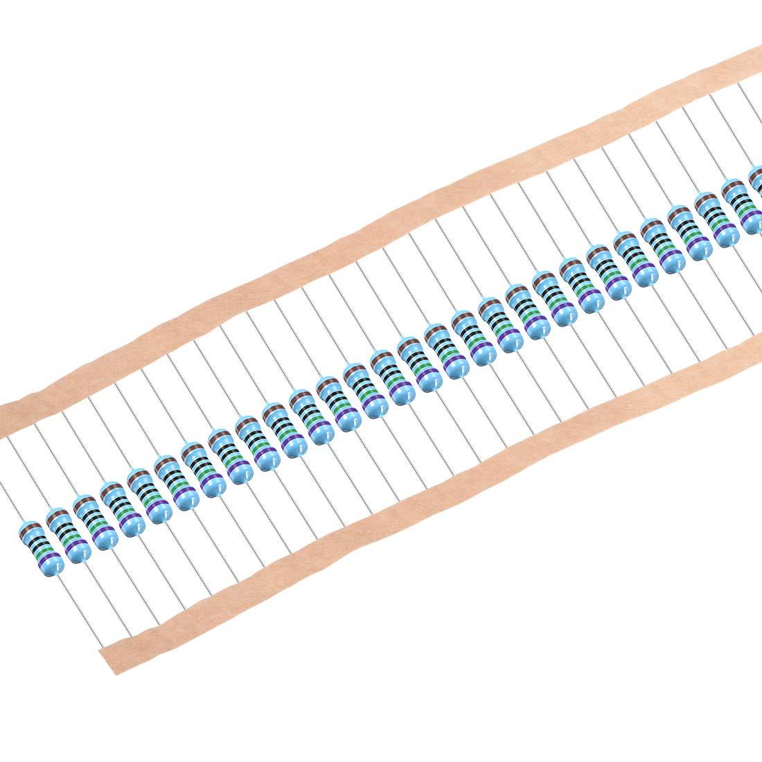 uxcell 1//2W 750 Ohm Metal Film Resistors 0.5W 1/% Tolerances 5 Color Bands 50 Pcs