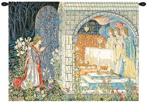 Tapestry, Extra Large, Wide - Elegant, Fine, French & Wall Hanging - The Holy Grail (The Vision II), With Border, E-H43xW55 by Blessinglight USA