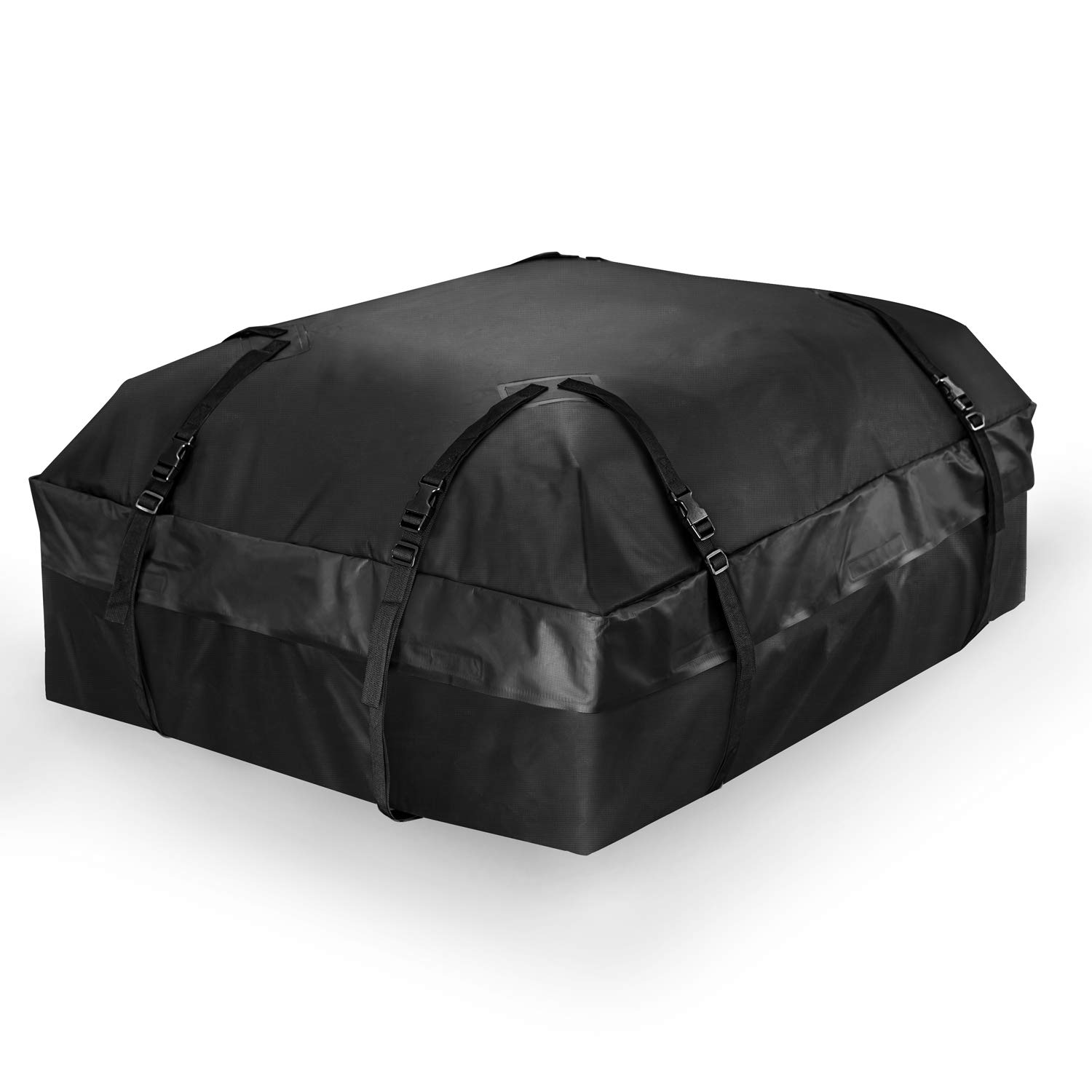 ISELECTOR Car Rooftop Cargo Carrier Bag, Waterproof Luggage Carrier Travel Bag 8 Widened Adjustable Straps Fits Vehicles with Side Rails or Cross Bars, 15 Cubic Feet, Black