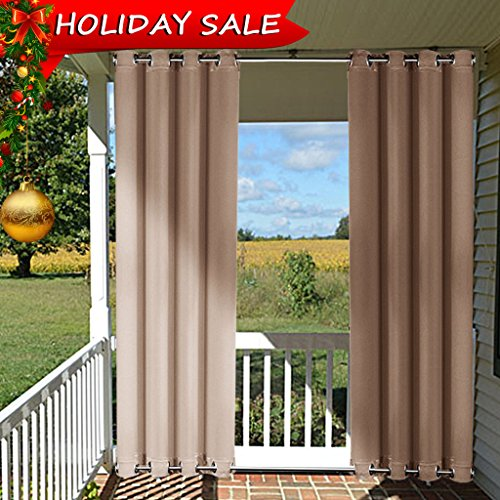 Outdoor Curtain Panel for Patio - NICETOWN Home Decorations Thermal Insulated Top and Bottom Grommets Blackout Indoor Outdoor Curtain / Drape, Windproof (Single Panel,52 x 95-Inch, Tan-Khaki)