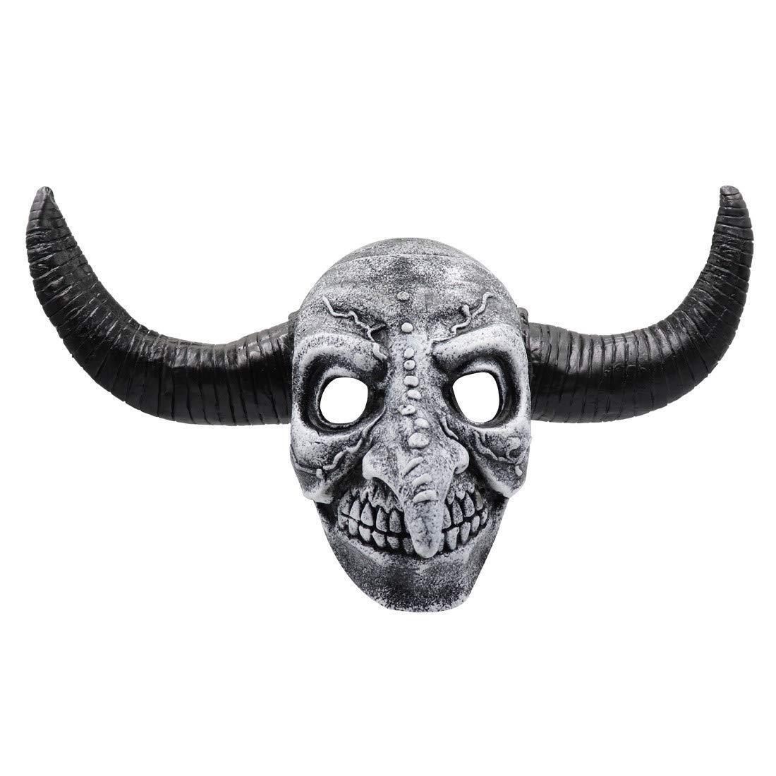 Meetsunshine Halloween Halloween Mask, Latex Mask Scary Animal Cattle Horns Masquerade Costume Cosplay Dress Up Props by Meetsunshine Halloween
