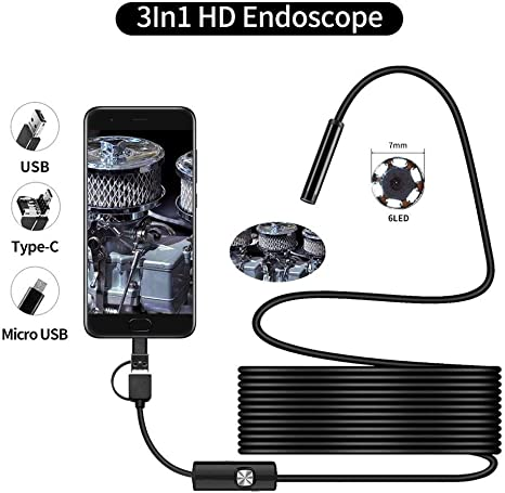 Endoskop Usb Mini Endoskop Kamera Endoskop Inspektionskamera For Android Smartphone Pc Color 1m Auto