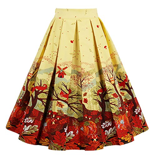 Dressever Women's Vintage A-line Printed Pleated Flared Midi Skirts Autumn XX-Large -