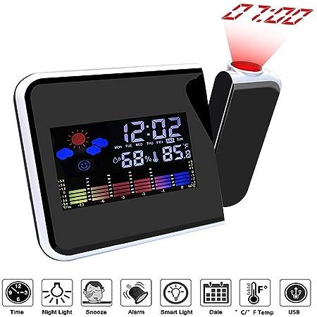 LYXCM Reloj Despertador Digital Despertador proyector, Pantalla en ...