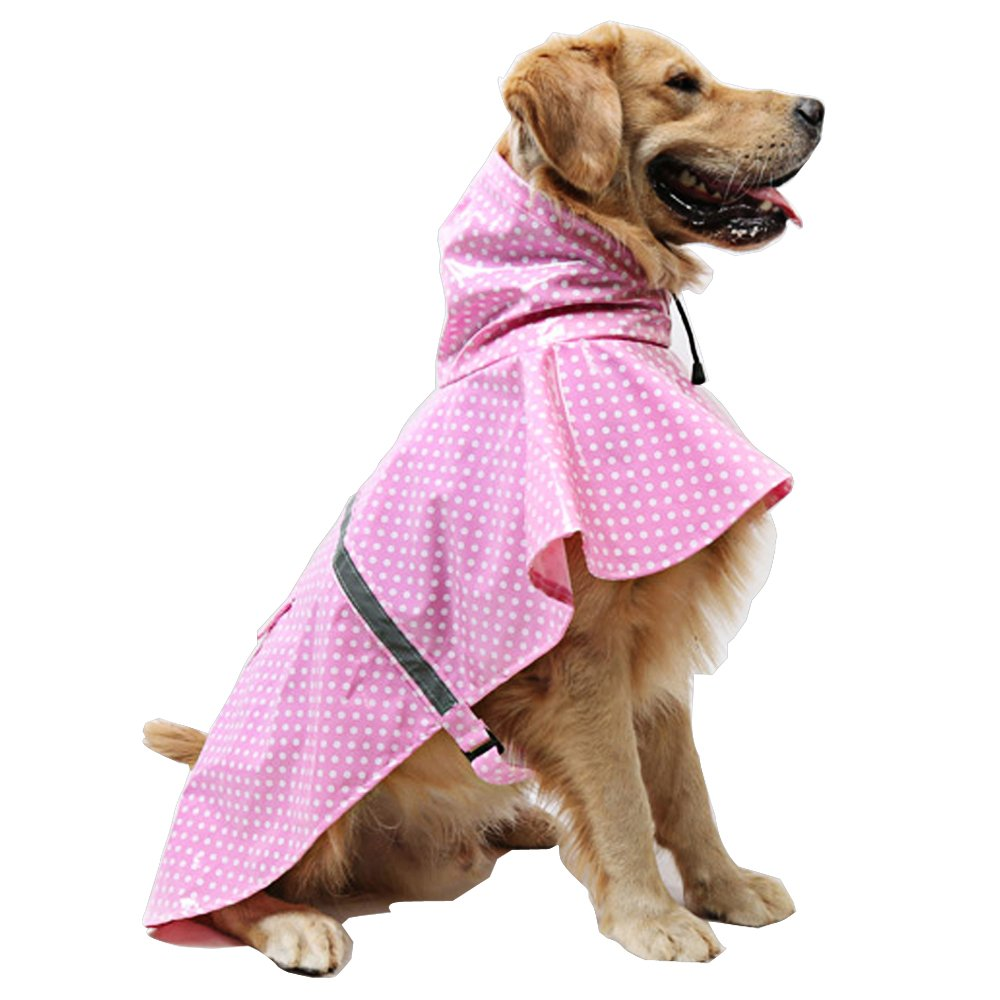 okdeals Adjustable and Lightweight Dot Dog Raincoat Waterproof and Breathable Pet Rain Jacket Poncho with Safe Reflective Strips (XL, PINK)