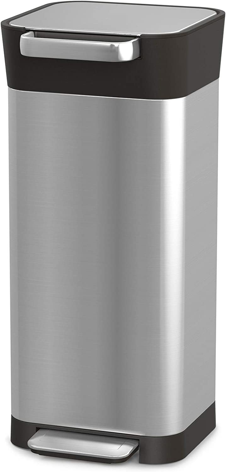 Joseph Joseph Intelligent Waste Titan Trash Can Compactor, 5 gallon/20 liter, Stainless Steel