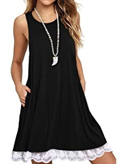 a91b728b0a4 Sanifer Women Summer Tunic Dress Lace Tank Dress Sleeveless T-Shirt Dress  with Pockets