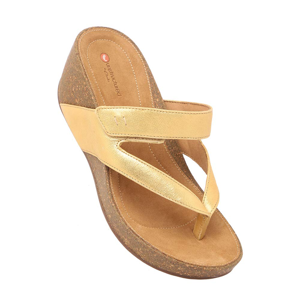341cd126 Clarks Women's Temira Palm Gold Leather Fashion Sandals: Buy Online ...