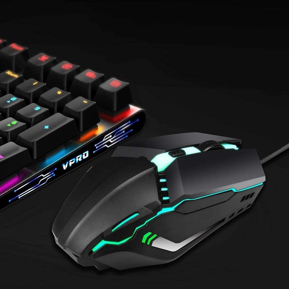 S200 USB2.0 1600dpi Adjustable 4-Keys Colorful Glowing Wired Gaming Mouse Length 1.5m