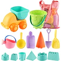 14 Piece Mingpinuius Toddlers Beach Sand Toy Set and Mesh Bag Soft Plastic Material