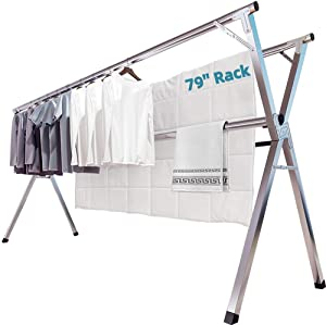 JAUREE Clothes Drying Rack, 2M/79 Inches Stainless Steel Garment Rack Adjustable and Foldable Space Saving Laundry Drying Rack for Indoor Outdoor with Windproof Hooks