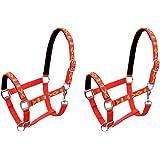 Festnight 2 Unidades Cabezadas De Caballo Nylon Tamaño Pony Rojo Ajustable, Cabestro para Caballos