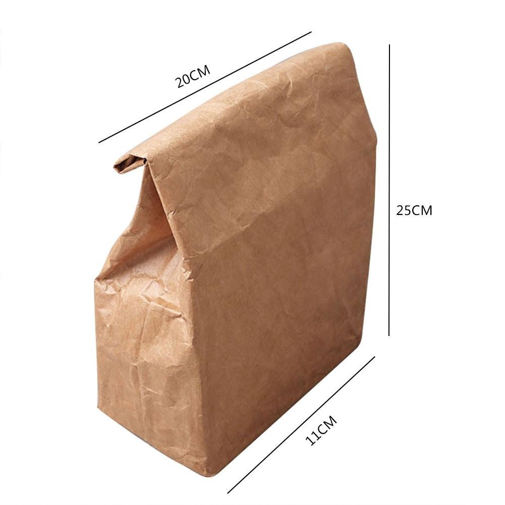sacca riutilizzabile in carta kraft marrone isolato termico lunch box con pellicola in alluminio per ufficio scuola 6L Paper lunch bag