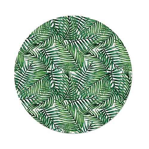 iPrint Polyester Round Tablecloth,Leaf,Watercolor Print Botanical Wild Palm Trees Leaves Ombre Design Image Decorative,Dark Green Forest Green,Dining Room Kitchen Picnic Table Cloth Cover Outdoor in