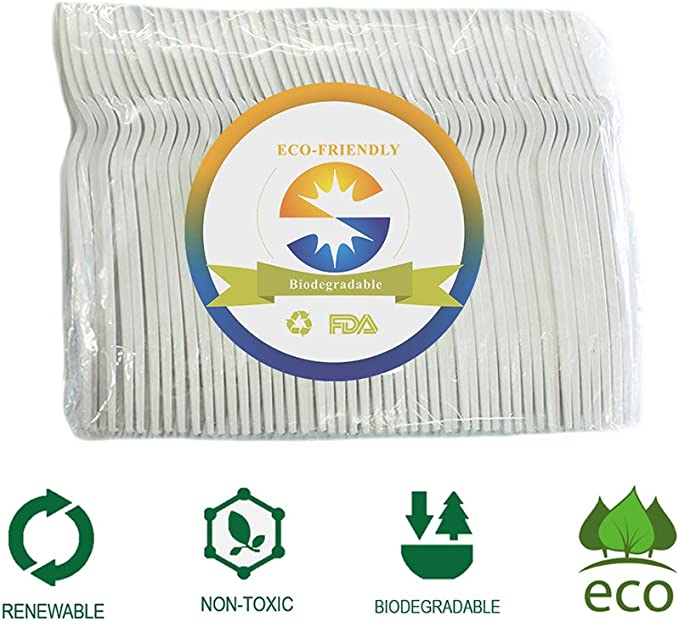 Eco-Friendly Compostable Biodegradable Spoons (100 count), made ...