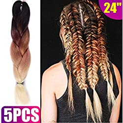 Silike 24'' Jumbo Braid Crochet Hair (5 Pieces) Afro Twist Jumbo Braiding Hair Extensions For Women (Black/Brown/613)