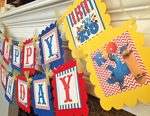 PARTY PACK SPECIAL - Rio Inspired Happy Birthday Collection - Red Chevron, Royal Blue Stripes & Yellow and White Accents - Party Packs Available