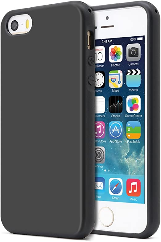 MUNDULEA Compatible iPhone SE (2016 Edition)/iPhone 5/iPhone 5s Case,Shockproof TPU Ptotective Cover Compatible iPhone 5s (Black)