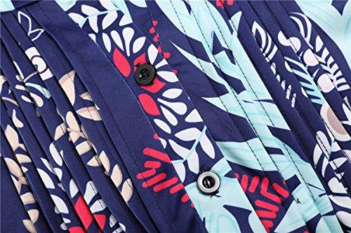 Chemisiers Casual Rond Col Bleu Imprim Blouse 3 4 avec Long Hauts Fashion Shirt Simple Kilt Tunique T Manches Fashion Tops Femme Bouton Jeune Marin O7qCn68w