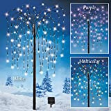 Willow Tree Outdoor Decoration with Purple Solar Lights