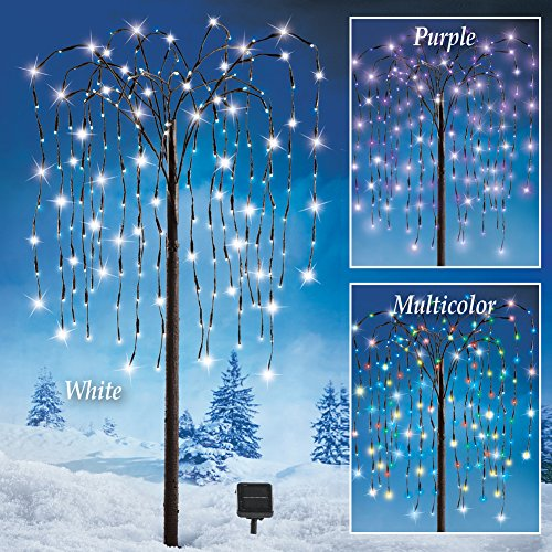 Willow Tree Outdoor Decoration with Purple Solar Lights by Generic