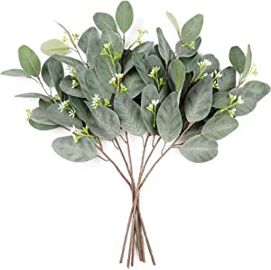 "Miracliy 6pcs 17"" Artificial Seeded Eucalyptus Leaves Stems Branches Fake Greenery for Vases Wedding Home Decor Arrangement"