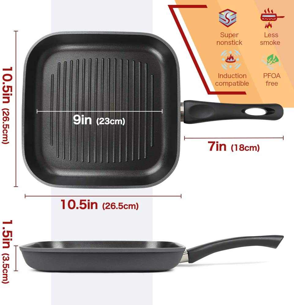 Gas Electric /& Ceramic Glass Stovetops Dishwasher Safe SHINEURI 10.5 Inch Nonstick Grill Pan Stone Hard Anodized Square Pan Fry Pan for Induction 10.5 inch pan, Black
